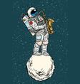astronaut saxophonist plays jazz in space vector image vector image