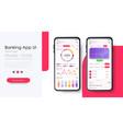 banking app ui kit responsive app statistics card vector image vector image