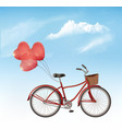 bicycle with red heart shaped balloons in front vector image