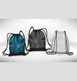 blue black and white sport backpack bag isolated vector image vector image