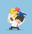 Businessman carrying house car and dollar sign vector image vector image