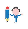 businessman character holding pencil vector image