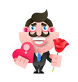 businessman with flowers and gift happy birthday vector image vector image