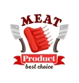 Butcher shop fresh meat ribs emblem vector image vector image