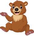 cartoon babrown bear sitting vector image vector image