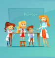 children at chemistry class vector image