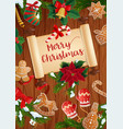 christmas tree stocking and gifts with scroll vector image