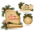 Christmas vintage scrolls and stickers vector image