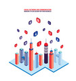 city social network tall buildings and speech vector image vector image
