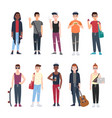 collection teenage boys dressed in trendy vector image