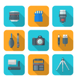 color flat style square digital photography tools vector image vector image