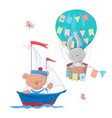 cute cartoon animals transport vehicle ship and vector image vector image