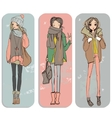 cute cartoon girls vector image