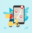 delivery man riding scooter online food order vector image