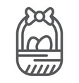 easter basket line icon easter and decoration vector image vector image