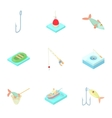 Fishery icons set cartoon style vector image vector image