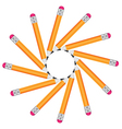 Frame of office pencils in a circle isolated on vector image vector image