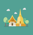 golden pagoda and buddhism temple vector image