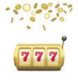 golden slot machine realistic render big win vector image vector image