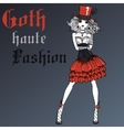 Goth girl in black dress and silk hat vector image vector image