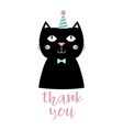 greeting card with black cat isolated on white vector image