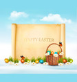 happy easter background easter eggs and old vector image