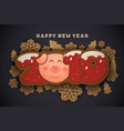 happy new year and merrt christmas greeting card vector image vector image