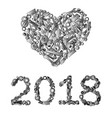happy new year design from hand tools vector image
