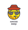 Hipster emoji line icon sign