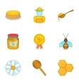 Honey icons set cartoon style vector image vector image