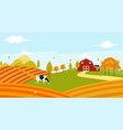 landscape view of farmer garden in the morning vector image