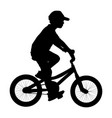 little boy riding bicycle silhouette fun outdoor vector image vector image