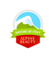 logo with of alpine mountain vector image vector image