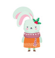 merry christmas celebration cute rabbit with scarf vector image
