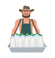 milkman with a tray vector image