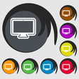 monitor icon sign Symbol on eight colored buttons vector image vector image