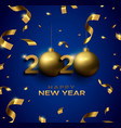 new year 2020 3d gold bauble blue greeting card vector image vector image