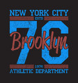 new york brooklyn grunge print for number t-shirt vector image vector image
