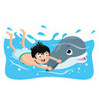 of kid swimming with dolphin vector image vector image