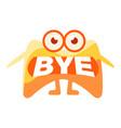 orange blob saying bye cute emoji character with vector image
