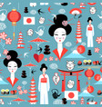 pattern with various elements japanese vector image