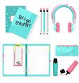 pink blue stationery set headphones vector image vector image