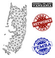 polygonal network mesh map of pemba island vector image vector image