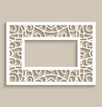 rectangle frame with lace border pattern vector image vector image