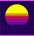 retrowave sun background vector image vector image