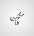 scissors outline symbol dark on white background vector image vector image