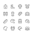 Set line icons of motorcycle equipment vector image
