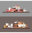 Set of modern flat design coffee-shop cafe and