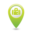 suitcase icon on map pointer green vector image vector image