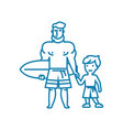 surfing lessons linear icon concept surfing vector image vector image